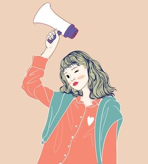 Ela segura um microfone e usa um colete em estilo de vida