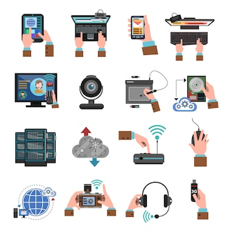 Ele devices icons flat