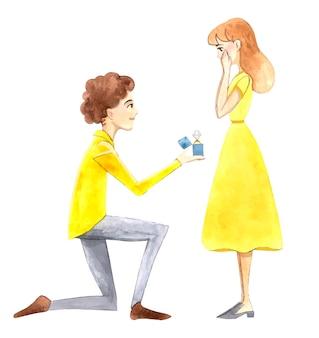 Ele faz a ela uma proposta de casamento de joelhos