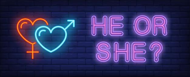 Ele ou o texto de néon com símbolos de gênero em forma de coração