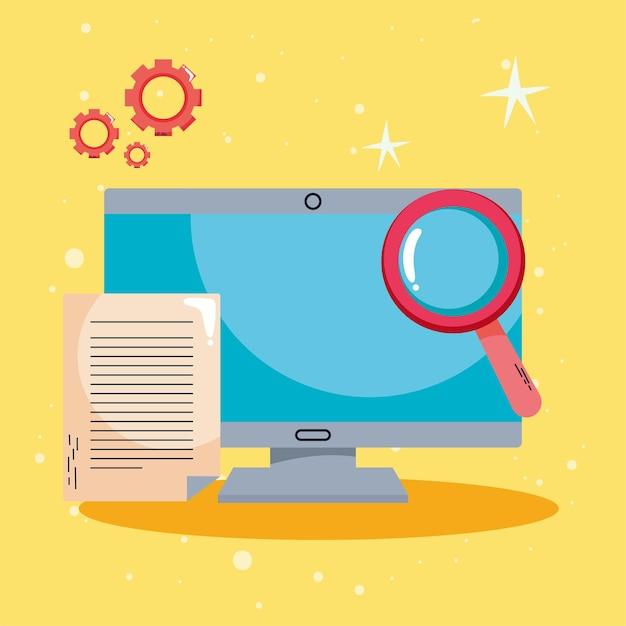 Elearning no desktop com lupa