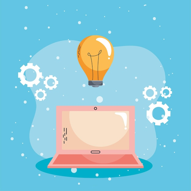 Elearning no laptop com lâmpada