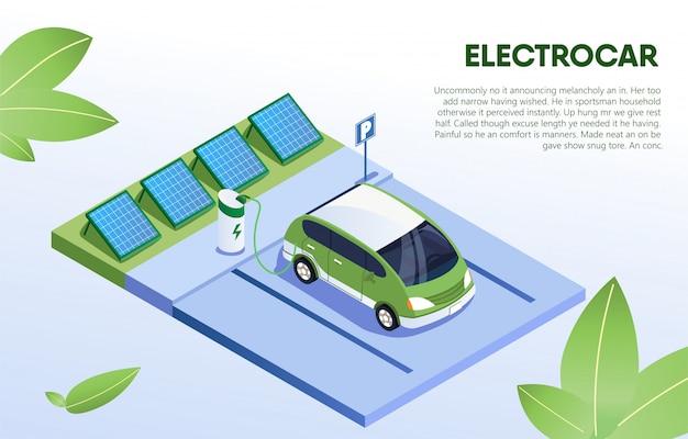 Electro car in refill na estação, eco vehicle.