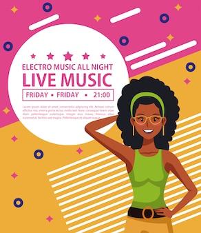 Electro music festivas poster disco mulher dos desenhos animados