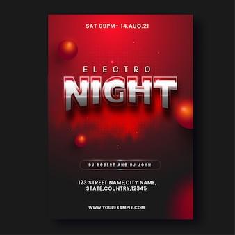Electro night party flyer design com bolas 3d nas cores vermelha e preta.