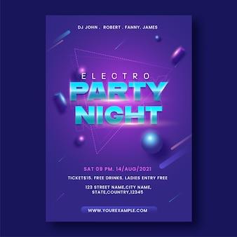 Electro party night flyer ou design de cartaz na cor roxa.