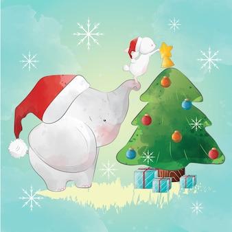 Elefante ajudando o coelhinho a decorar a árvore de natal