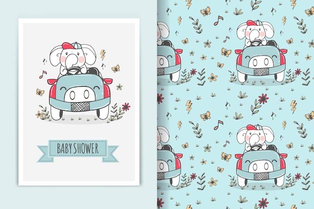 Elefante andando de carro ilustração e padrão sem emenda