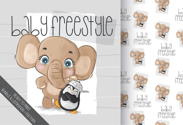 Elefante animal fofo com padrão sem emenda de pinguim bebê