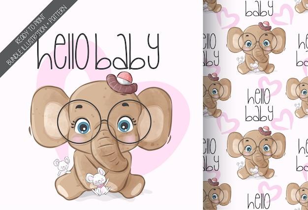 Elefante animal fofo com padrão sem emenda de rato bebê