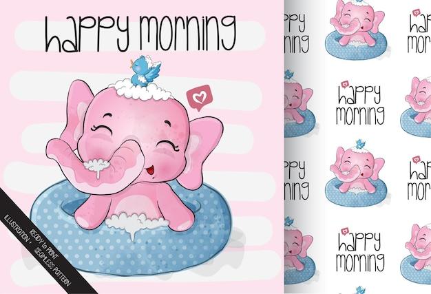 Elefante animal fofo e feliz com chuveiro de rato sem costura