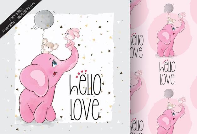 Elefante animal fofo e padrão sem emenda de amigos