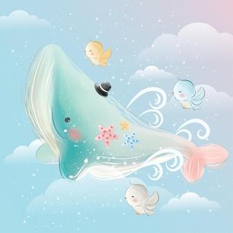 Elefante azul voando no céu