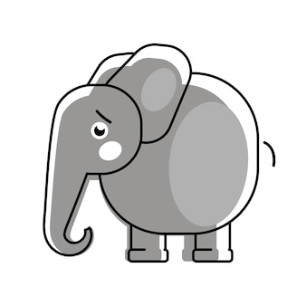 Elefante bebê com um logotipo de vetor de coração para roupas de crianças.