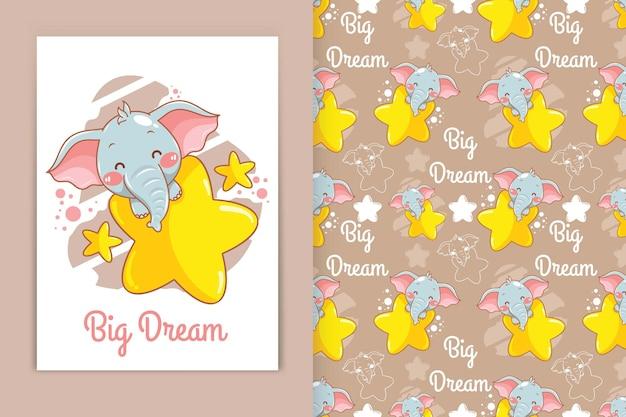 Elefante bebê fofo abraçando a ilustração dos desenhos animados estrelados e um conjunto de padrões sem emenda
