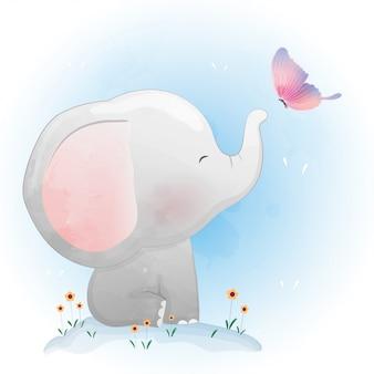 Elefante bebê fofo brincando com borboleta