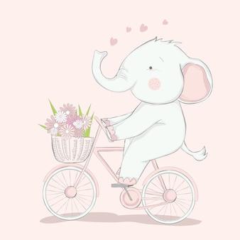 Elefante bebê fofo com estilo de mão desenhada de desenhos animados de bicicleta