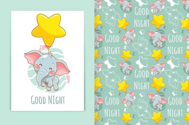 Elefante bebê fofo com ilustração de desenhos animados de balão estelar e conjunto de padrões sem emenda