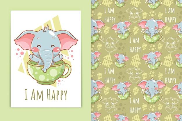 Elefante bebê fofo com ilustração dos desenhos animados da xícara de chá e conjunto padrão sem emenda