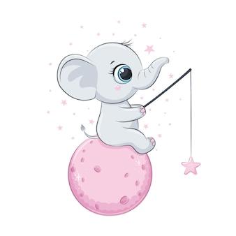 Elefante bebê fofo com lua e estrelas. ilustração vetorial