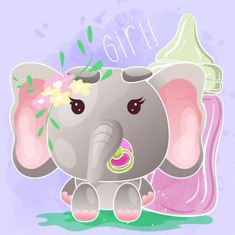Elefante bebê fofo com mamadeira - vetor