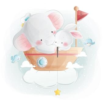 Elefante bebê fofo e coelho sentado em um barco