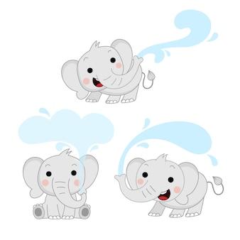 Elefante bebê fofo e respingos de água