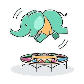 Elefante bebê fofo feliz e amigável brincando de salto trampolim personagem de desenho animado