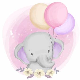Elefante bebê fofo jogando balão
