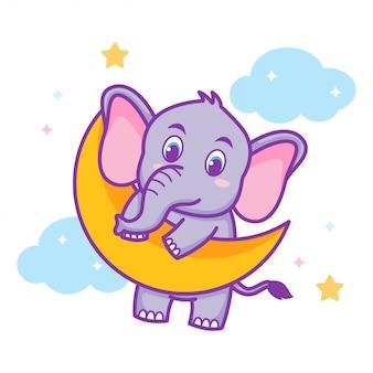 Elefante bebê fofo pendurado na lua crescente