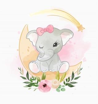 Elefante bebê sentado na lua com flor
