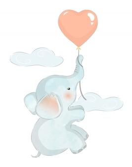 Elefante bebê voando com balão