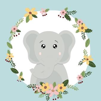 Elefante bonito animal mão desenhada doodle