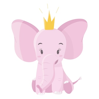 Elefante bonito bebê rosa com coroa. animal de desenho animado para decorar fundos e itens infantis.