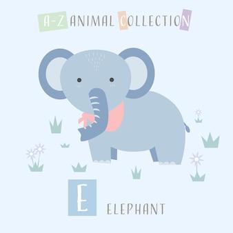 Elefante bonito dos desenhos animados doodle alfabeto animal e