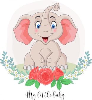 Elefante bonito dos desenhos animados, sentado com fundo de flores