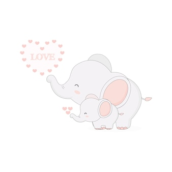 Elefante bonito e ilustração do bebê.