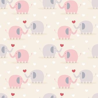 Elefante casal fofo no amor sem costura padrão.