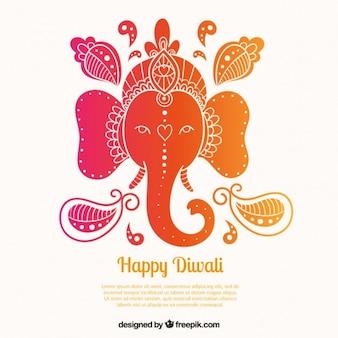 Elefante colorido fundo diwali