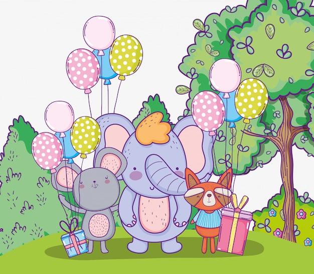 Elefante com feliz aniversario do koala e do guaxinim