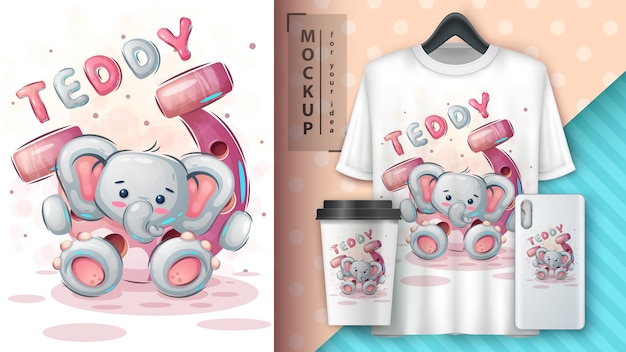 Elefante com ferradura - pôster e merchandising