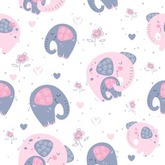 Elefante, com, um, bebê, elefante, em, um, cute, estilo