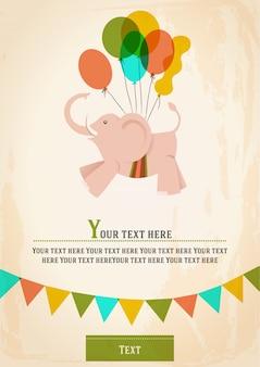 Elefante cor-de-rosa voa com balões coloridos