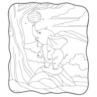 Elefante da ilustração dos desenhos animados tentando pegar o livro ou a página do ninho de uma abelha para crianças em preto e branco