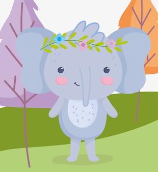 Elefante de animais fofos com flores na cabeça dos desenhos animados de árvores de grama