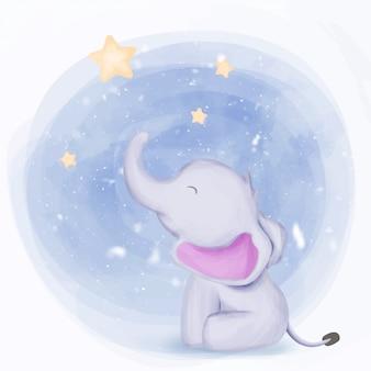 Elefante de bebê fofo chegar às estrelas