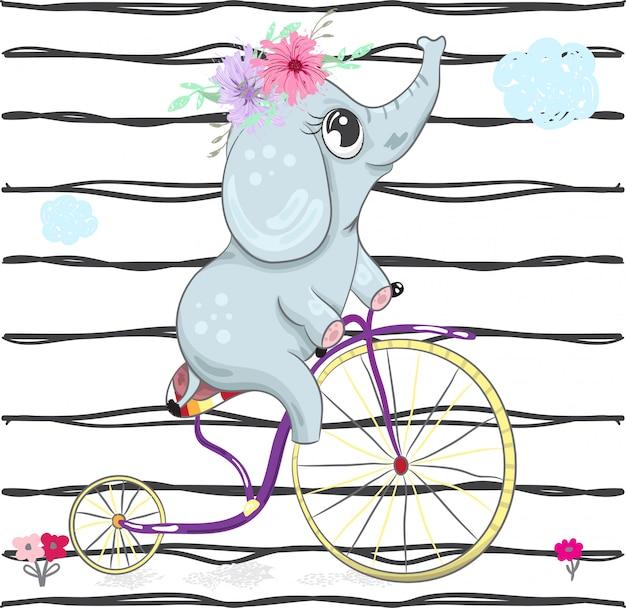 Elefante de bebê fofo em um doodle de desenhos animados de bicicleta