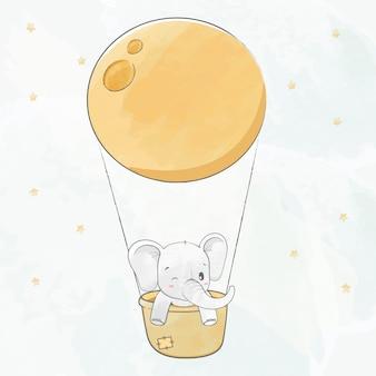 Elefante de bebê fofo em uma cesta e super lua água cor cartoon mão desenhada