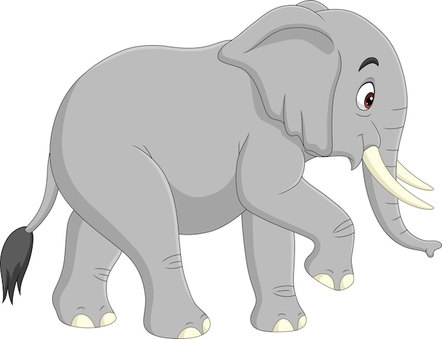 Elefante de desenho animado isolado no branco