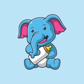 Elefante de desenho animado segurando uma garrafa de leite